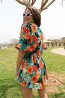 אוברול מעטפת טורקיז פרח