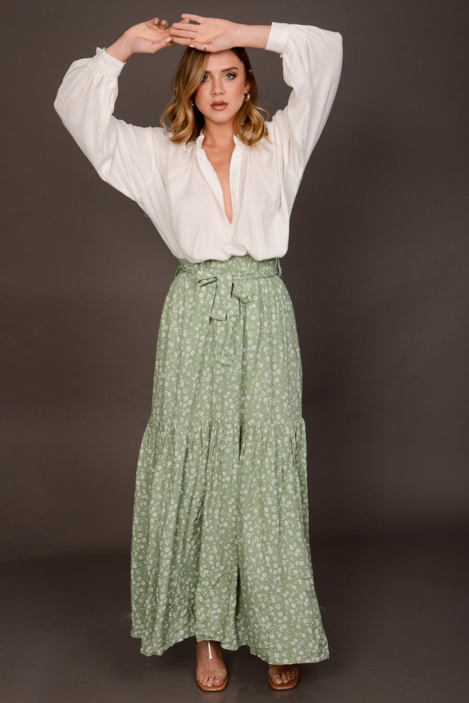 חצאית וולן ללי ירוק/תכלת