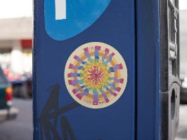 מדבקת מנדלת אש - מנדלה מקורית בעבודת יד מודפסת על מדבקת ויניל