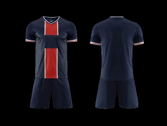 תלבושת כדורגל צבע כחול אדום דמוי פאריס (לוגו+ספונסר שלכם)