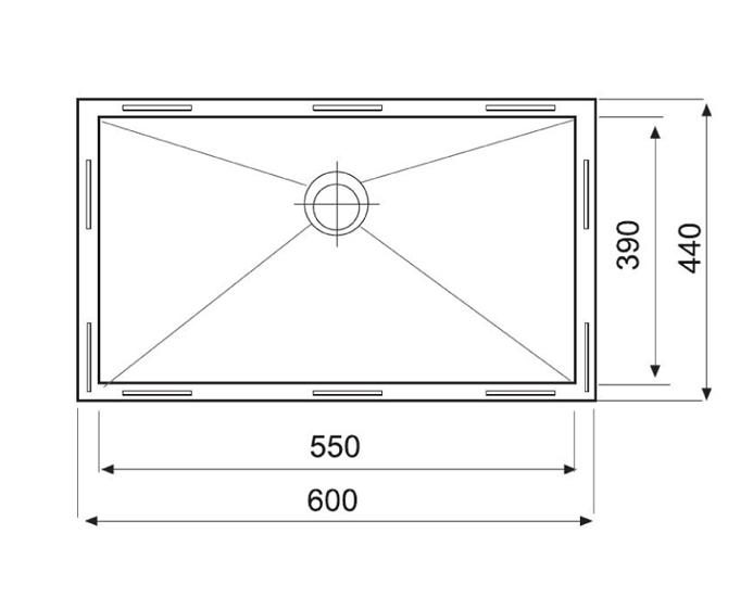 כיור מטבח נירוסטה יחיד תוצרת אולין דגם זירו 60