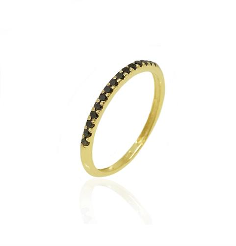 טבעת איטרניטי בזהב 14K משובצת יהלומים שחורים 0.20 קראט