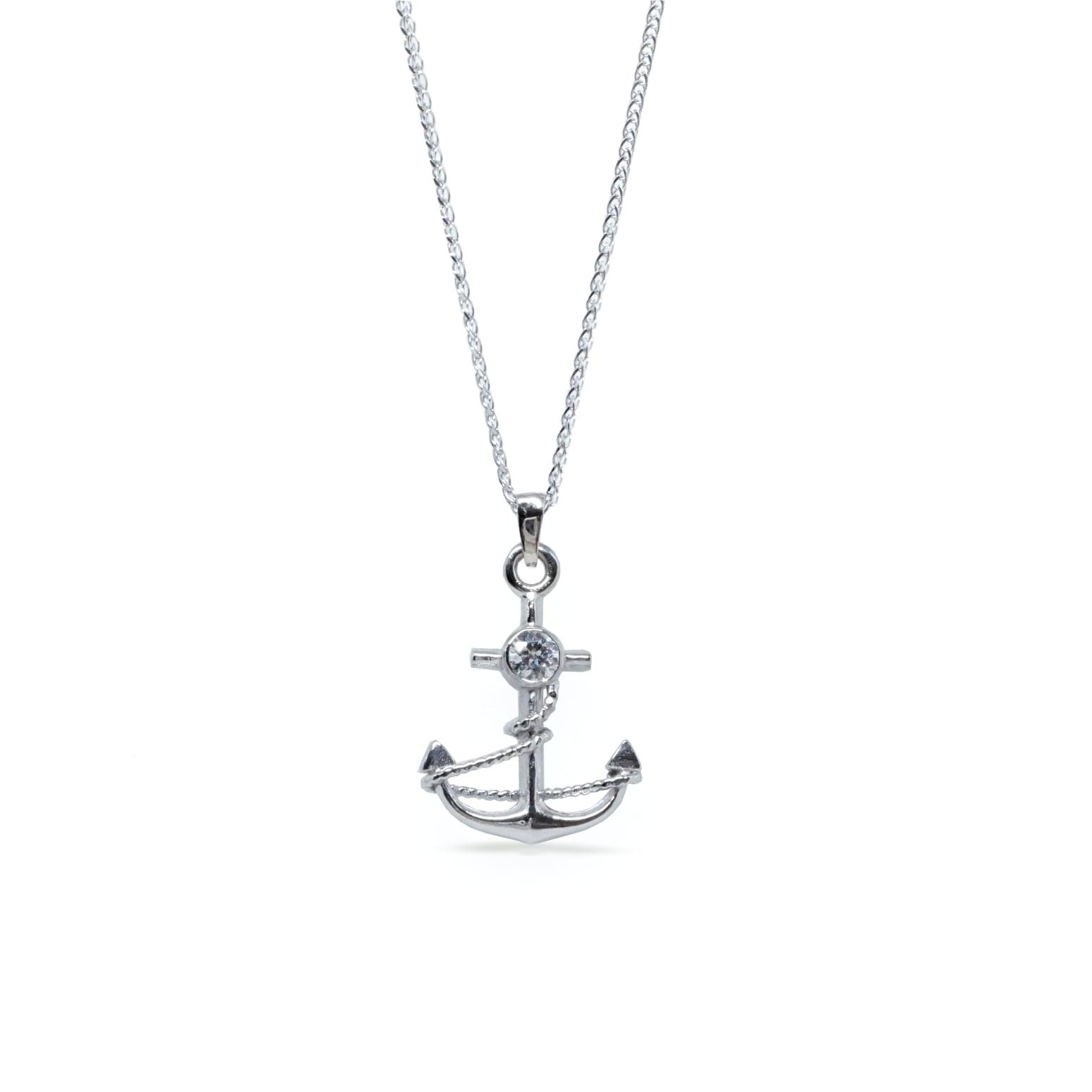 שרשרת עוגן לגבר עשויה בזהב 14 קרט בשילוב יהלום שרשרת יהלום לגבר