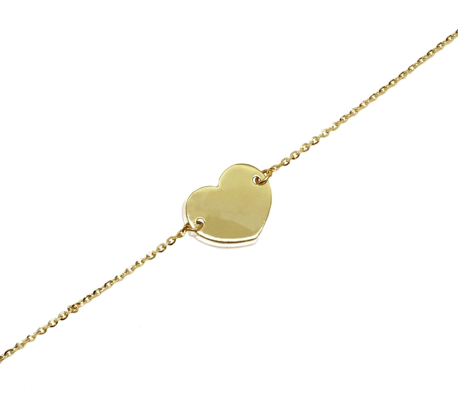 צמיד זהב לב חריטה לאישה 14 קראט
