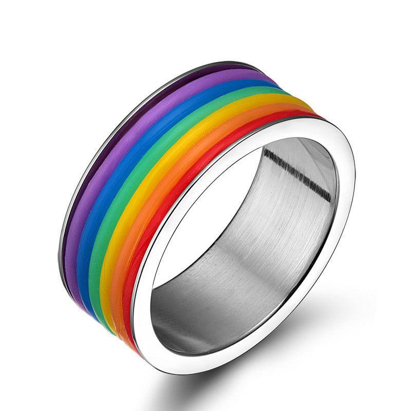 טבעת פלדה (Stainless steel) גברים ונשים צבעי הלהט״ב OP09170012IN