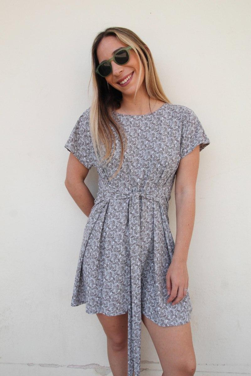 שמלת קשירה אפור פרחים