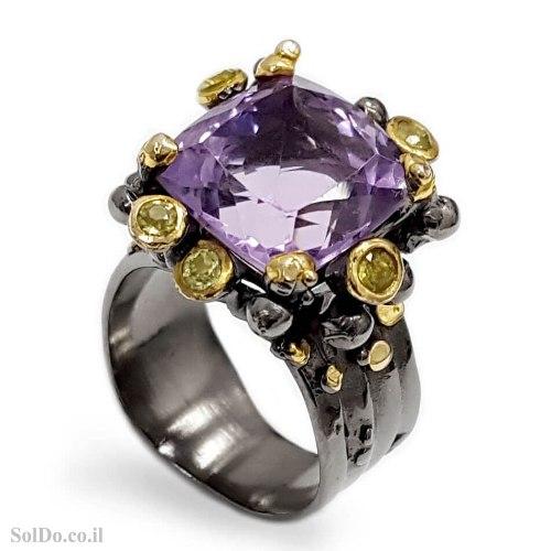 טבעת מכסף משובצת אבן אמטיסט ואבני פרידוט RG6320 | תכשיטי כסף 925 | טבעות כסף