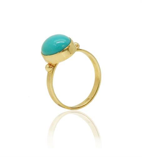 טבעת קלאסית משובצת טורקיז מזהב צהוב 14 קראט