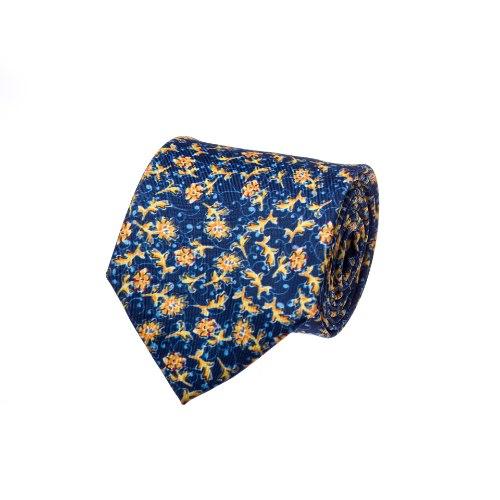 עניבה פרחים גדולים כחול צהוב כהה