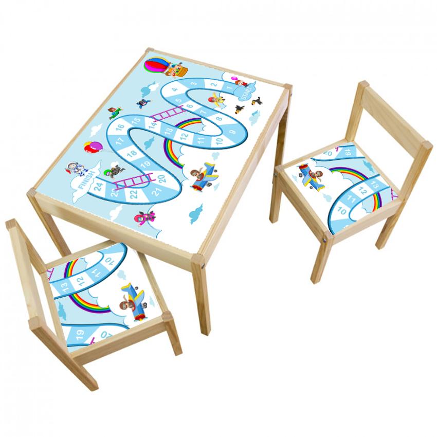 3 יח' טפט דביק מותאם לשולחן וכסאות (LATT)- לוח משחק סולמות