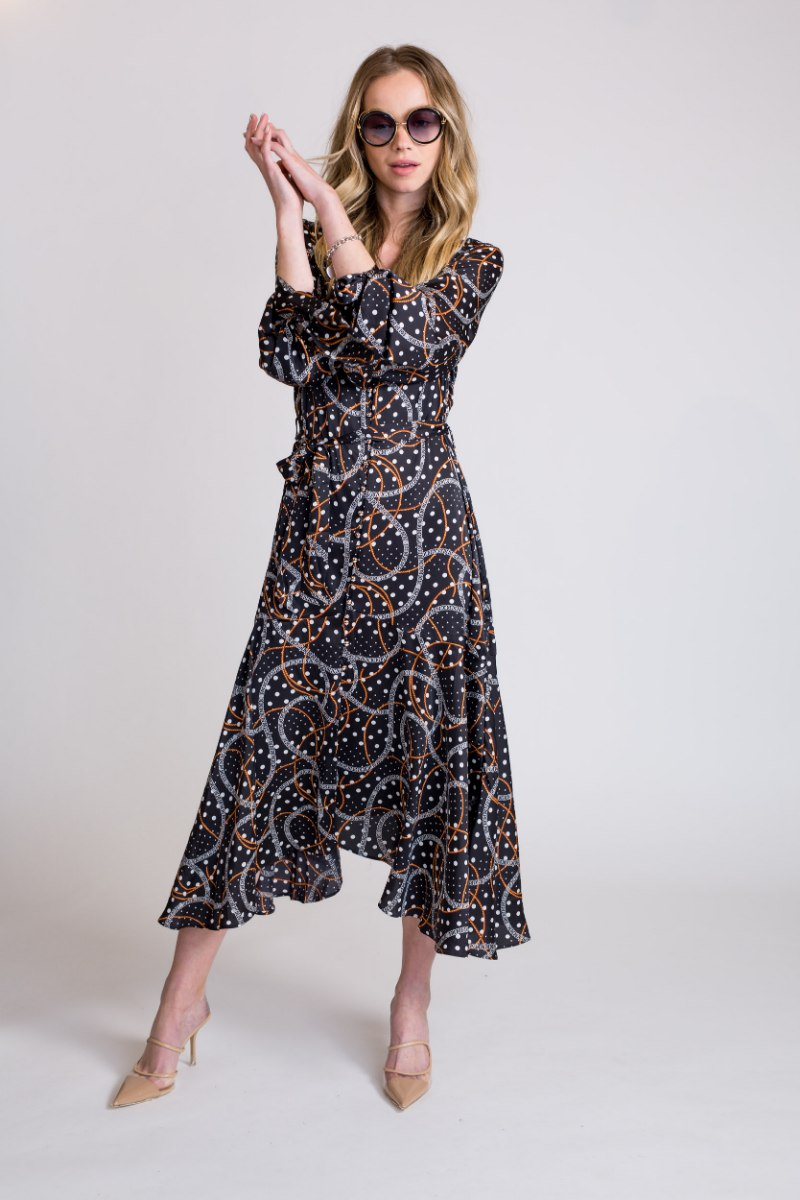 שמלת סאטן מודפס קשירה בשרוול שחור