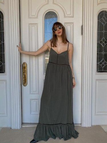 שמלת דולי מקסי ירוקה