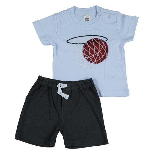 חליפה קצרה הדפס כדורסל תכלת