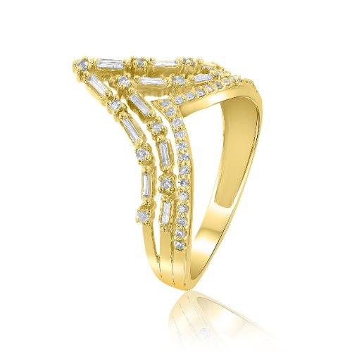 טבעת יהלומים זהב צהוב 14 קראט R-RR383-F