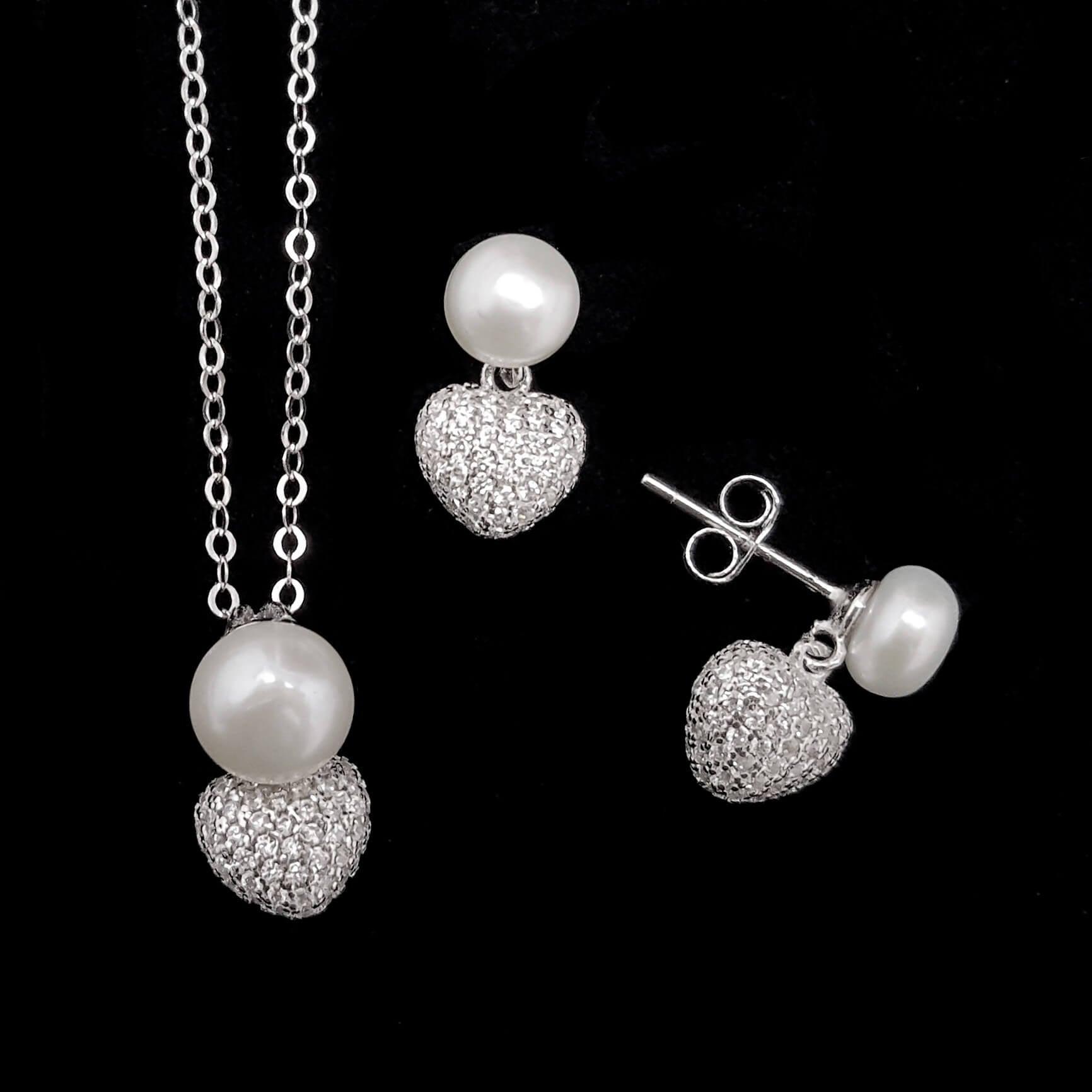 סט עגילים ותליון לבבות מכסף משובצים פנינה לבנה וזרקונים S1493   תכשיטי כסף 925   תכשיטים לחתונה
