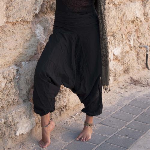 מכנסי אלאדין שחורים מכותנה נפאלית