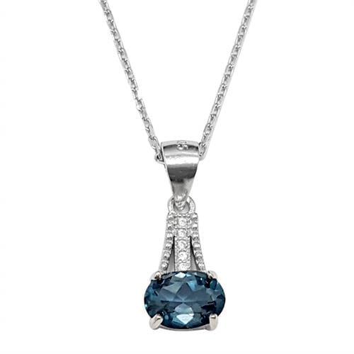 תליון מכסף  משובץ אבן טופז כחולה ואבני זרקון T5994 | תכשיטי כסף