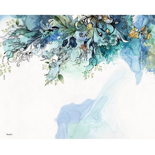 ציור אבסטרקטי צבעי מים כחול
