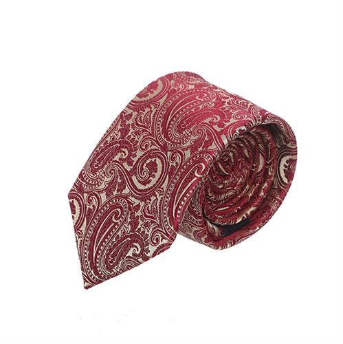 עניבה פייזלי אדום זהב עשיר