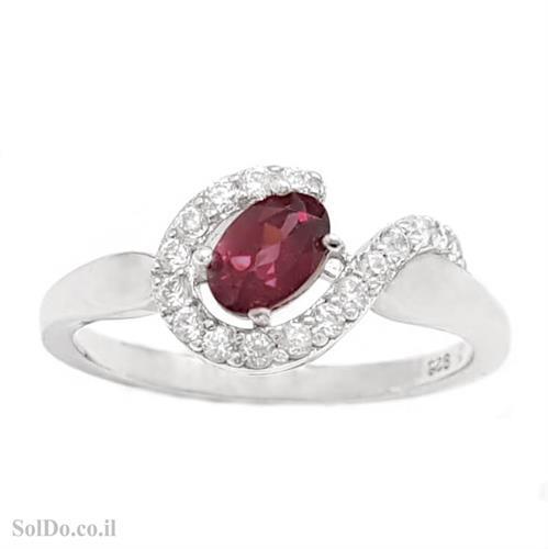 טבעת מכסף משובצת אבן גרנט ואבני זרקון RG6177   תכשיטי כסף 925   טבעות כסף