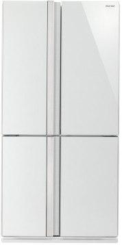 מקרר 4 דלתות מקפיא תחתון אינוורטר 615 ליטר Sharp SJ-FS87V - זכוכית לבנה