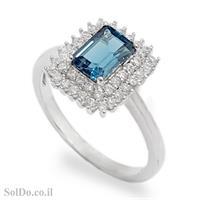 טבעת מכסף משובצת אבן טופז כחולה  וזרקונים RG1651   תכשיטי כסף 925   טבעות כסף