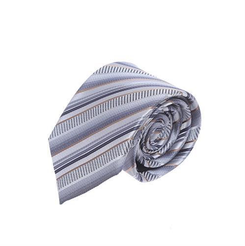 עניבה פסים אפור משולב