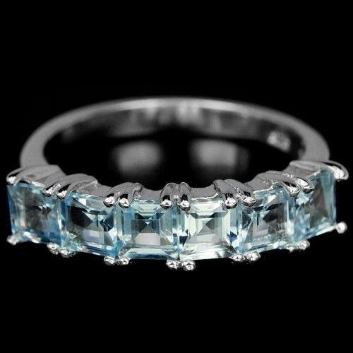 טבעת כסף משובצת טופז כחול וזרקונים RG5614 | תכשיטי כסף 925 | טבעות כסף