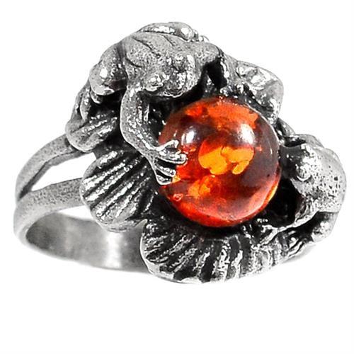 טבעת כסף מעוצבת משובצת ענבר RG5700 | תכשיטי כסף 925 | טבעות כסף