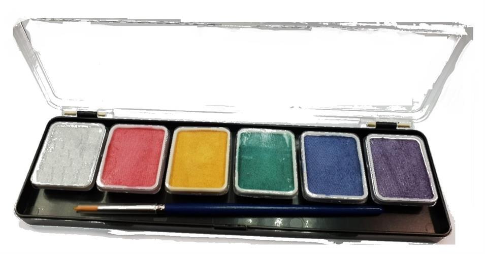 פלטה 6 צבעי מים +מכחול (36 גר')