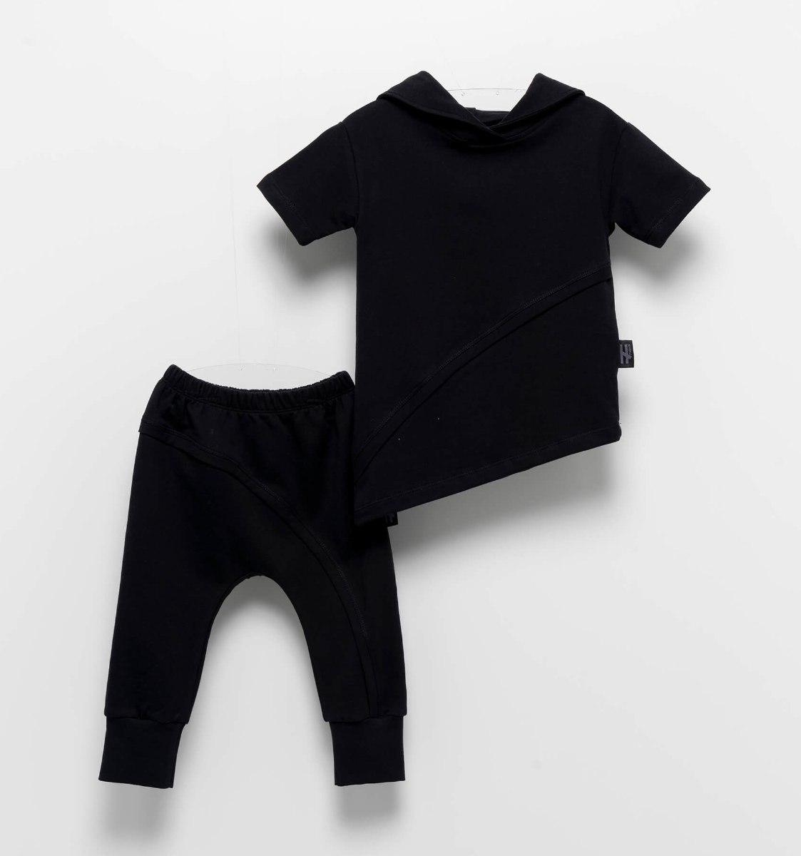 חליפה שחורה א-סימטרית MOI NOI מידות - 6 חודשים עד 5 שנים