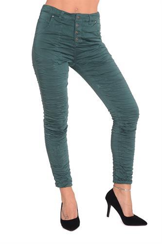 מכנס כותנה עם כפתורים בצבע ירוק בקבוק