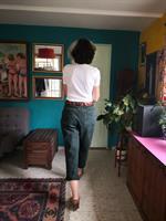 מכנס ג'ינס בצבע ירוק בקבוק מידה L