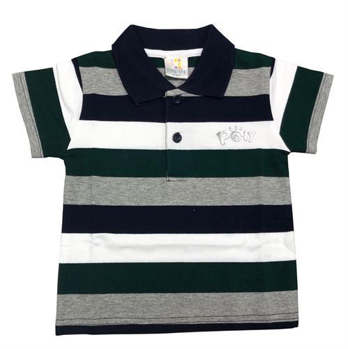 חולצת פולו פסים שחור-לבן-אפור מלאנג'