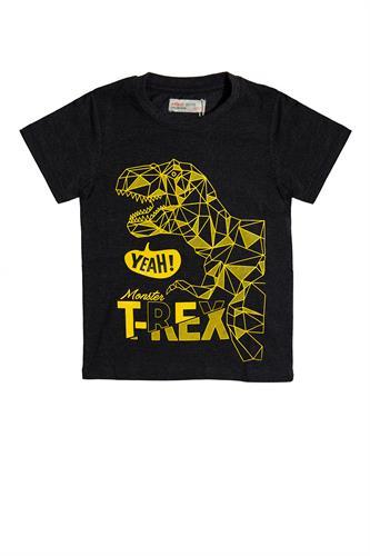 חולצה שחורה דינוזאור צהוב