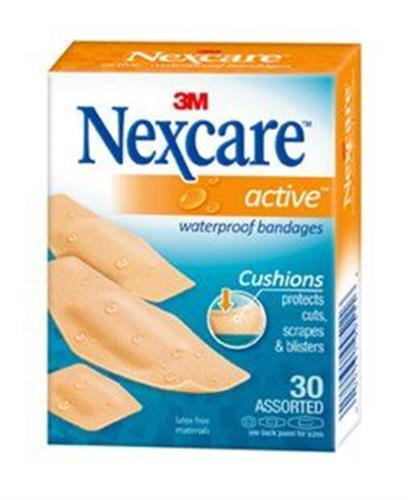 Nexcare active  פלסטר מרופד, נצמד גם על גוף מזיע גדלים שונים 30 יחידות