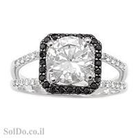 טבעת מכסף משובצת אבני זרקון שחורות ולבנות RG6026   תכשיטי כסף   טבעות כסף