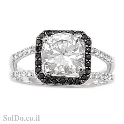 טבעת מכסף משובצת אבני זרקון שחורות ולבנות RG6026 | תכשיטי כסף | טבעות כסף