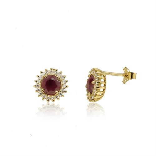 עגילי זהב 14 קרט צמודים משובצים באבן רובי ויהלומים