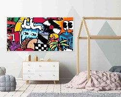 ציור פופ ארט צבעוני לחדר ילדים של האמן כפיר תג'ר