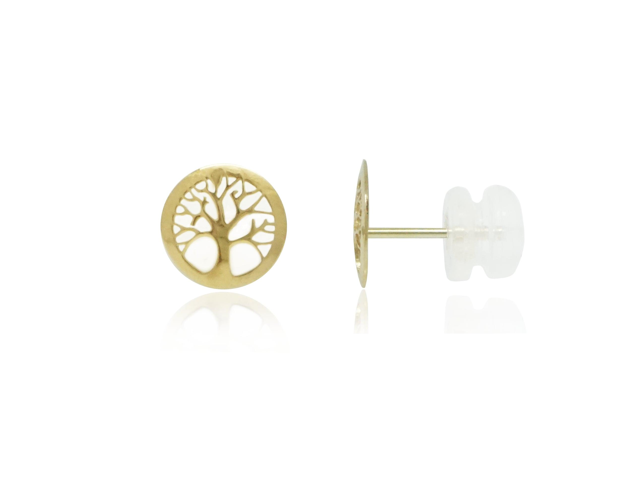 עגילי זהב צמודים לאוזן סגנון עץ החיים עשויים 14 קרט