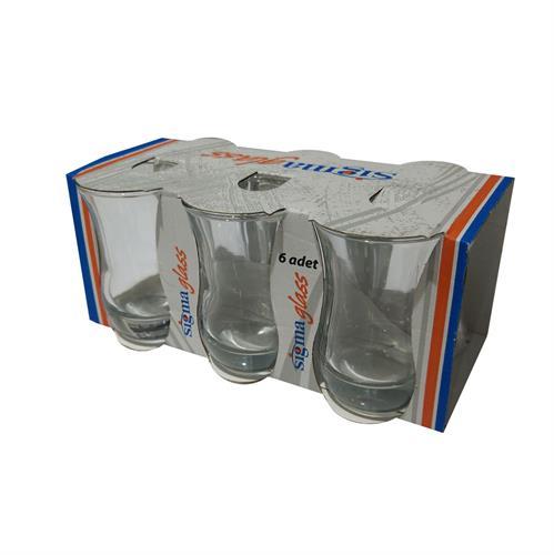 סט 6 כוסות זכוכית מעוצבות סגנון כד תחתית עבה
