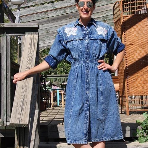 שמלת ג'ינס אייטיזית מטורפת מידה L/XL