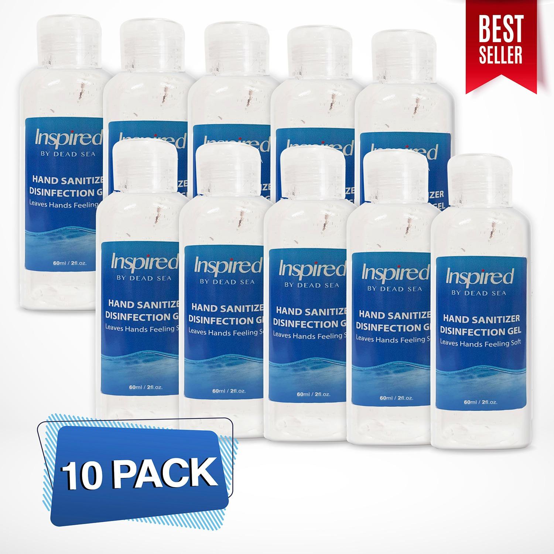 """10 יחידות של אלכוג'ל - גל הגייני לניקוי הידיים  70% אלכוהול - 60 מ""""ל INSPIRED מסדרת מוצרי ים המלח"""