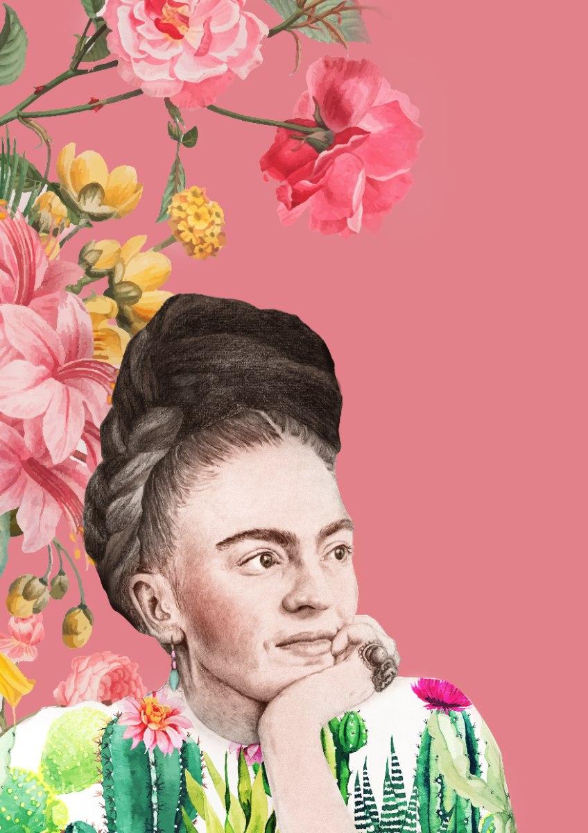 הדפס ציור נייר - פרידה קאלו פרחונית ורודה
