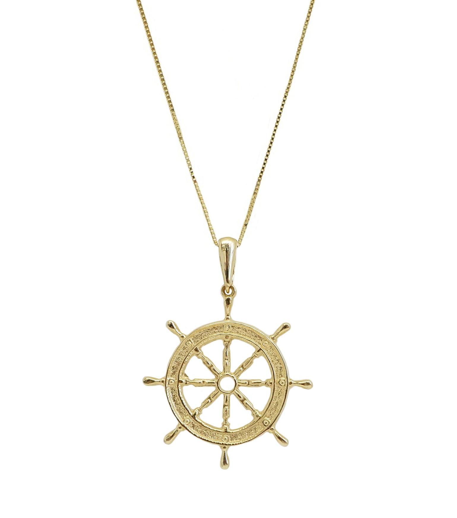 שרשרת ותליון זהב הגה ספינה לגבר