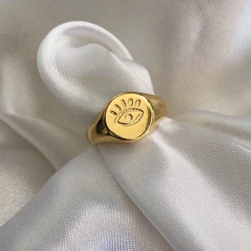 טבעת עין ריסים יציקה - גולד