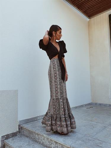 חצאית מקסי ברודווי - פרינט אתני שחור