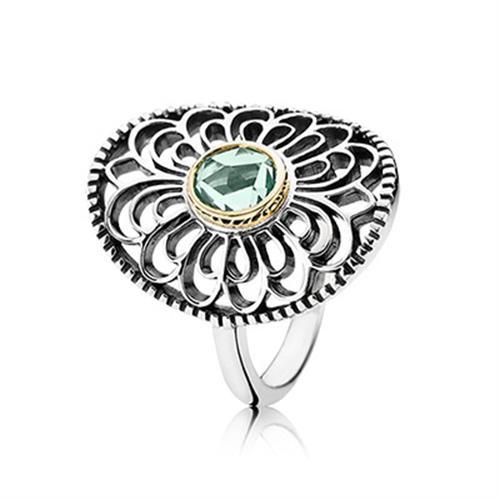 טבעת כסף וזהב פנדורה 190885SSG