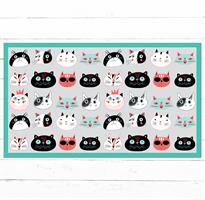 שטיח פי.וי.סי דגם פרצופים של חתולים